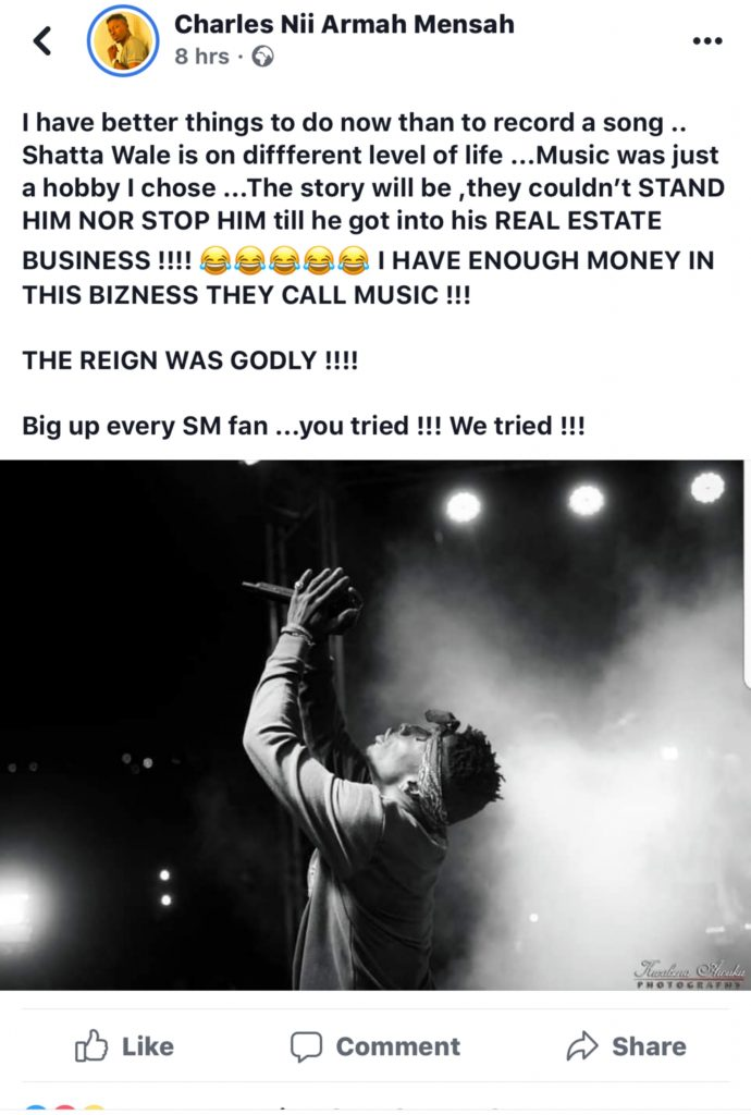 """""""I have better things to do now than to record a song""""- Shatta Wale quits music after VGMA@20 chaos 2"""
