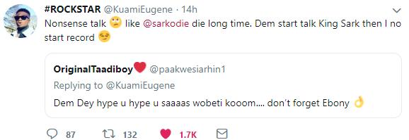 Kuami Eugene Blasts Fan Who Said He Will Die Like Ebony