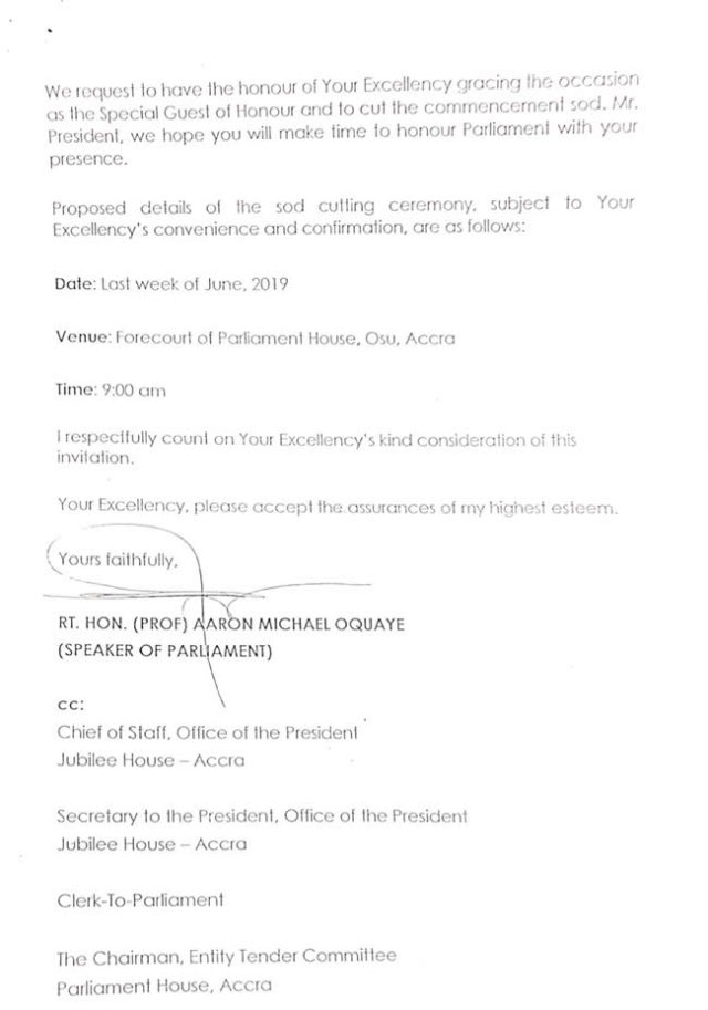 LEAKED: Letter Shows Parliament notified Prez Nana Akuffo-Addo about new chamber 4