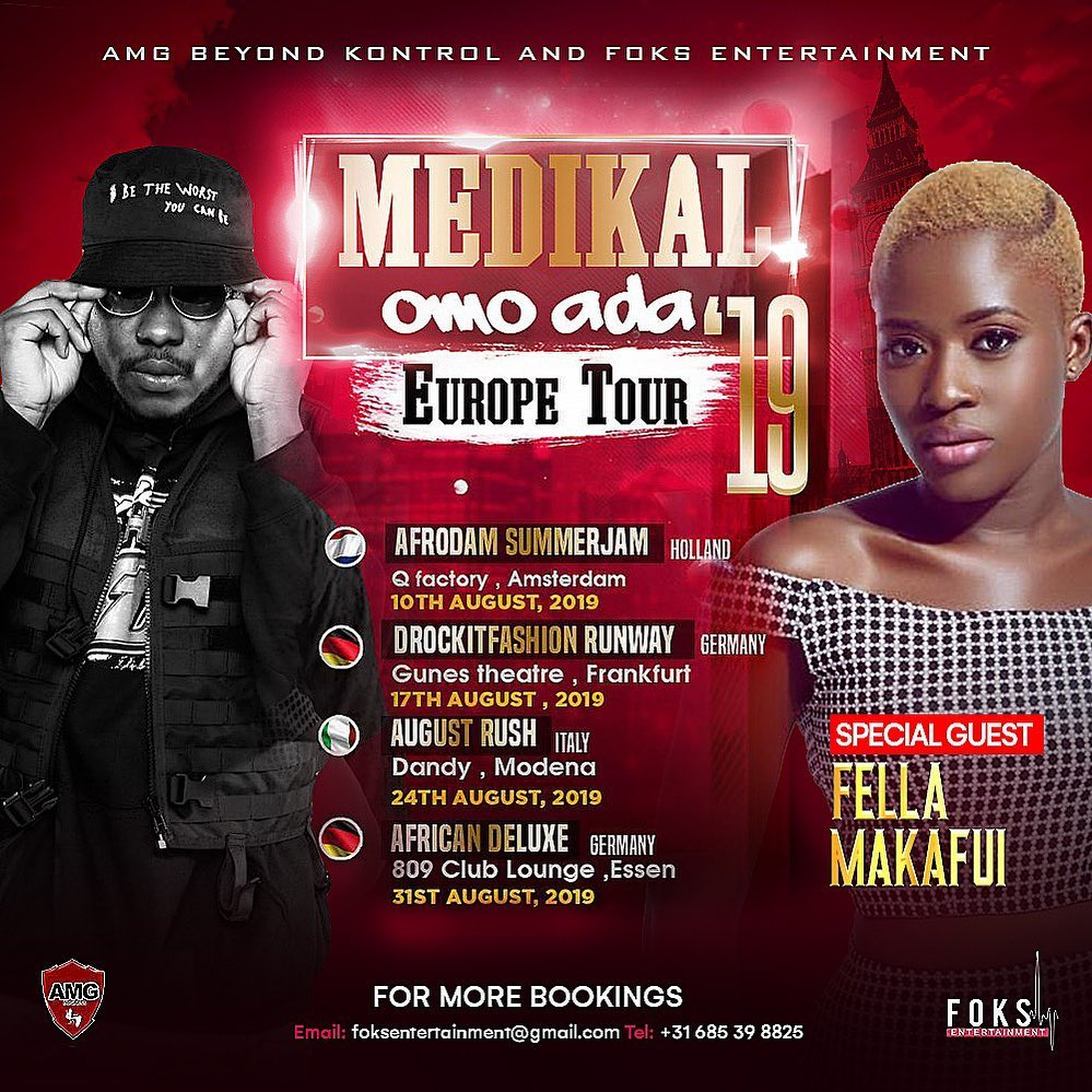 Medikal and Fella Makafui tour Europe