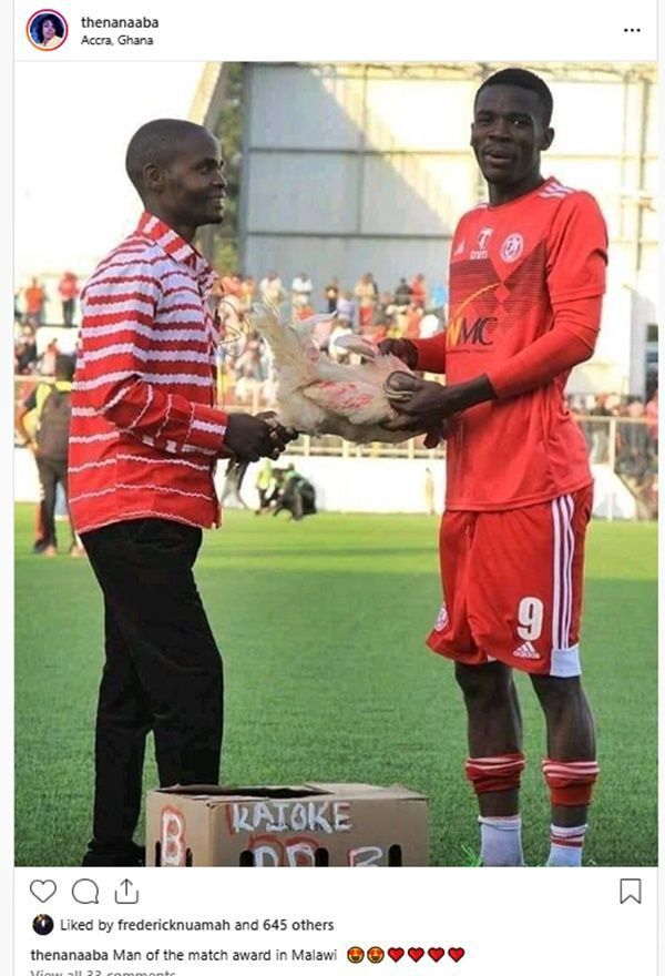 Footballer Gets A Fowl As Man Of The Match Prize