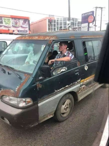 White Man Spotted Driving Trotro In Accra 2
