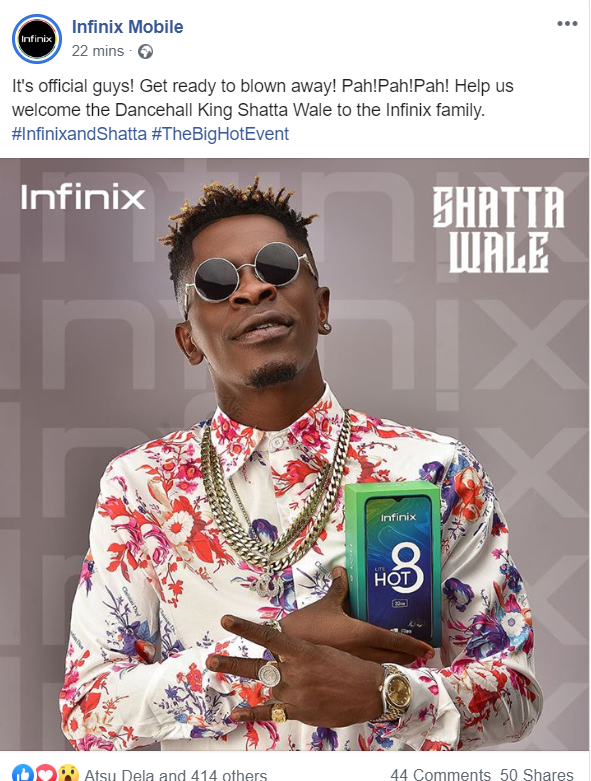 Shatta Wale Made Brand Ambassador For Infinix Mobile