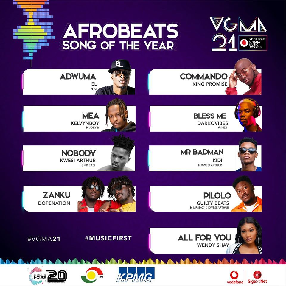 VGMA 2020: Afrobeats Song of The Year