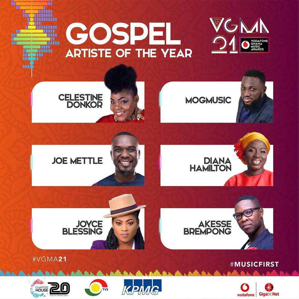 VGMA 2020 Nominees: Gospel Artiste of the Year