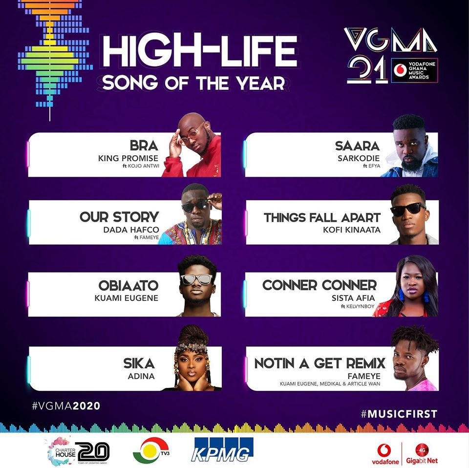 VGMA 2020: HighLife Song of The Year