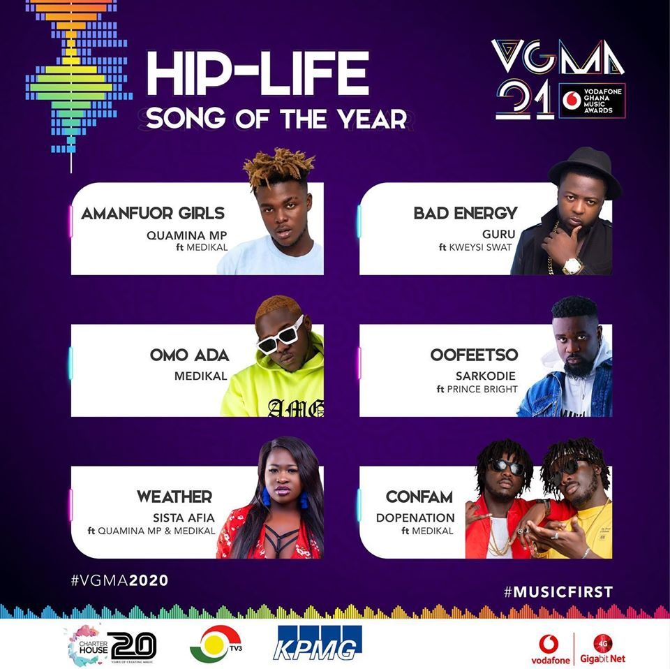 VGMA 2020: HipLife Song of The Year