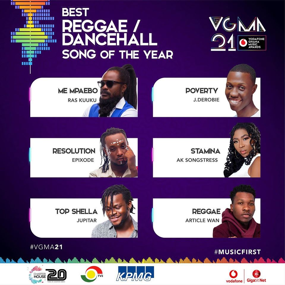 VGMA 2020: Reggae/Dancehall Song of The Year