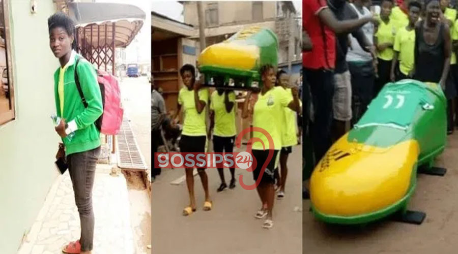 Ghanaian female footballer laid to rest in a boot-shaped casket (Photos) 1