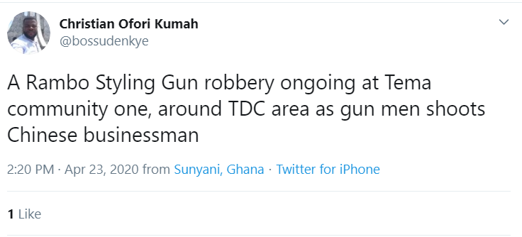 daylight robbery at Tema Community one