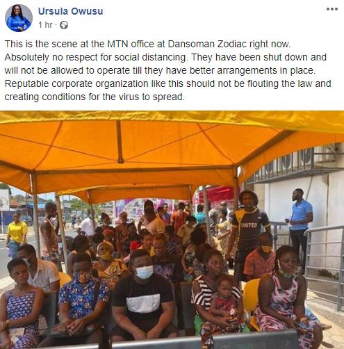 Ursula Owusu's Facebook Post