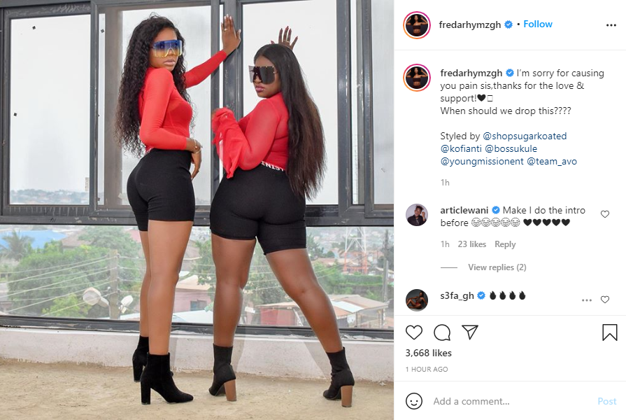Sista Afia and Freda Rhymz apologize to each other on Instagram