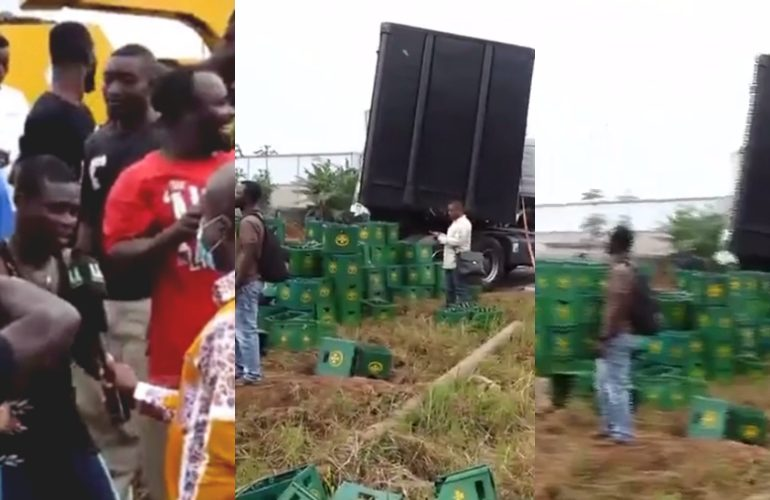 Club beer truck involved in an accident on Tema Motorway