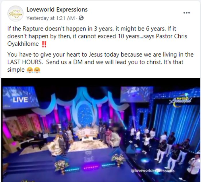 Rapture will happen in 10 years time - Pastor Chris claims