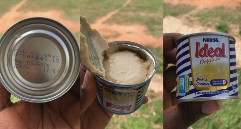 Ghanaian man buys Ideal Milk only find tom brown inside it