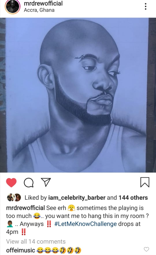 Mr Drew rejects ugly pencil portrait